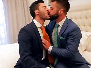 Hot Spanish businessmen in suits fuck hard in the hotel room