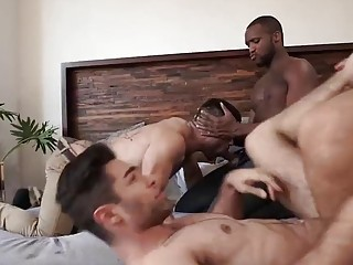 Two boyfriends invite hung black dudes into their bedroom