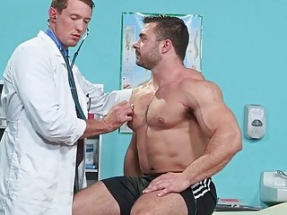 The doctor says this stud needs an injection of cum in his ass