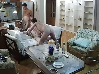 Home camera catches gay threesome with hot oral