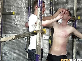 Dominated twink with huge dick getting a rough blowjob