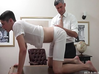 Headmaster gives this student an injection of dick