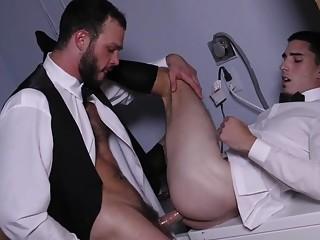 Cliff Jensen and Damien Kyle sneak away from a wedding