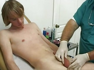 Young blonde intimiately handled by the chubby nurse