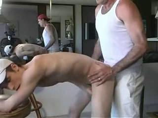Twink fucked in merciless doggy and made to swallow