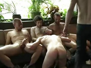 Gay fucker is treated like shit during BDSM orgy