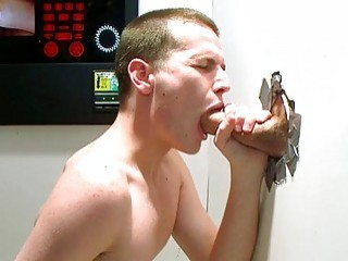 Cum-guzzling gay cutie swallows jizz from a gloryhole