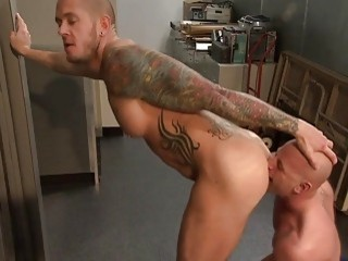 Bald fuckers licking ass and balls before anal sex
