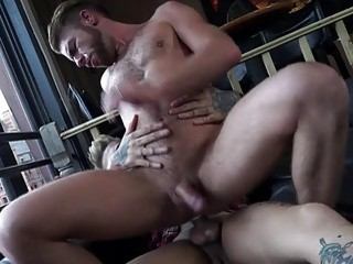 Sexy couple have anal sex in front of huge windows