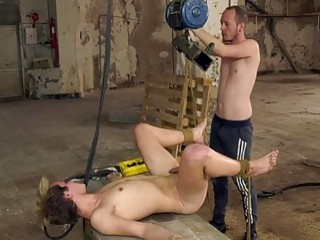 Submissive twink tied up for rimming and balls deep drilling