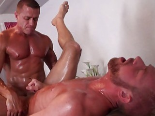 Muscular gay males ripping their butt holes apart