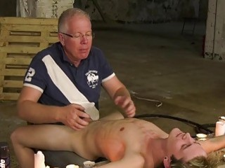 Blonde twink shaved by an older man during gay domination