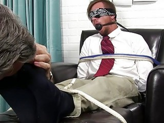 Gay businessman gagged and stripped to have his toes licked