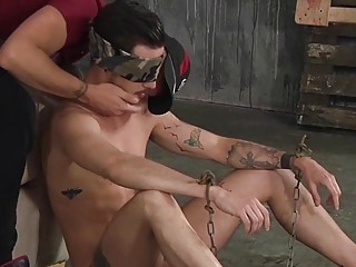 Submissive twink seduced into licking feet and giving a blowjob
