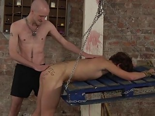Submissive twink bent over for spanking and balls deep drilling