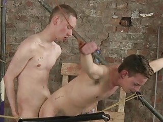 Submissive twink tied up and bent over for hard pounding