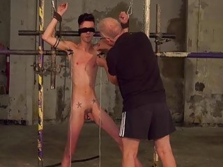 Skinny twink tied up and blindfolded for kinky gay domination