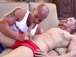 Two hot guys trash and cum all over the terrace