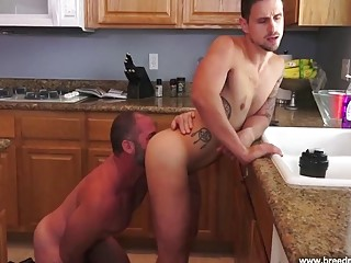 Bare fucks his pool boy on the kitchen table