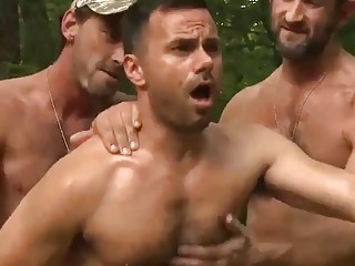 Soldiers give gay forest fuck handling their heavy equipment
