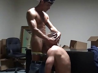 Couple of gay men ass fuck in the office
