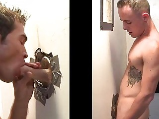 Glory hole with two gay men on both sides