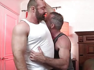 Buff bears get naked for some rough gay sex