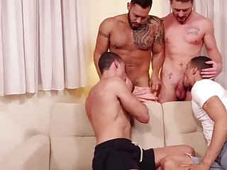 Two gay couples come together for swinging and group sex