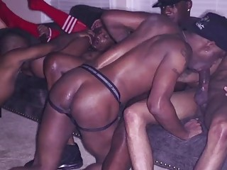 Black hunks have a crazy orgy with lots of anal sex