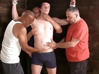 Several daddies find pleasuring in edging this bound punk