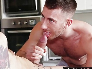 Gay bottom looks on with longing as he's nailed