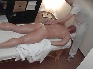 Burly hunk's massage ends with hardcore anal sex