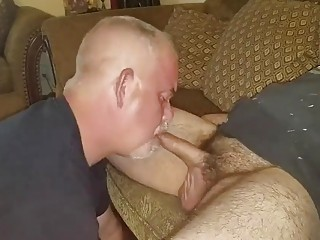 Older daddy sucking gay older mans cock