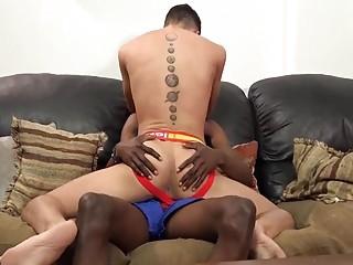 Black fucker drops his load on this boy's pretty face