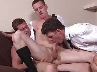 These groomsmen celebrate with anal sex