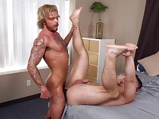 Hunky brunette is laid out by this monster boner
