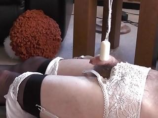 Man slut in stockings has his penis vibed