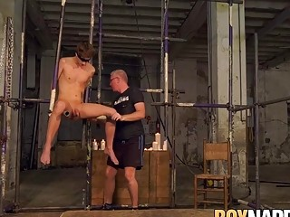 Bound Casper Ellis tormented by hot wax and mature maledom