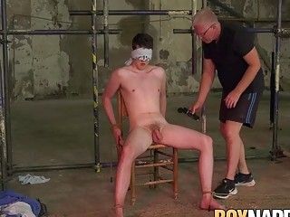 Tied and blindfolded slave sucked by mature master Sebastian
