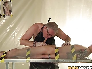 Wax tormented sub twink Rhys Casey blowed by mature master