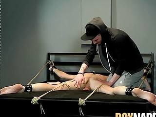 Young dude punished by his master while tied up too