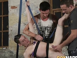 Sub twink with two very dominant dudes