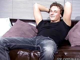 British twink fucking leather couch solo