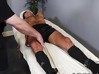 Soccer jock tied up for tickle torment