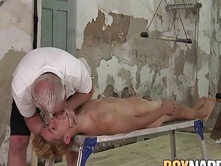 Blonde twink duck taped and sucked off